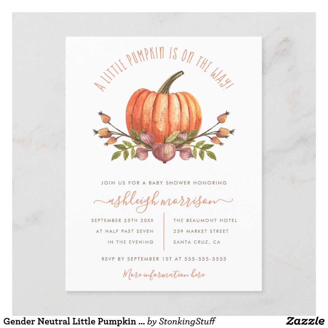 Gender Neutral Fall Pumpkin Baby Shower Invitations With Envelopes
