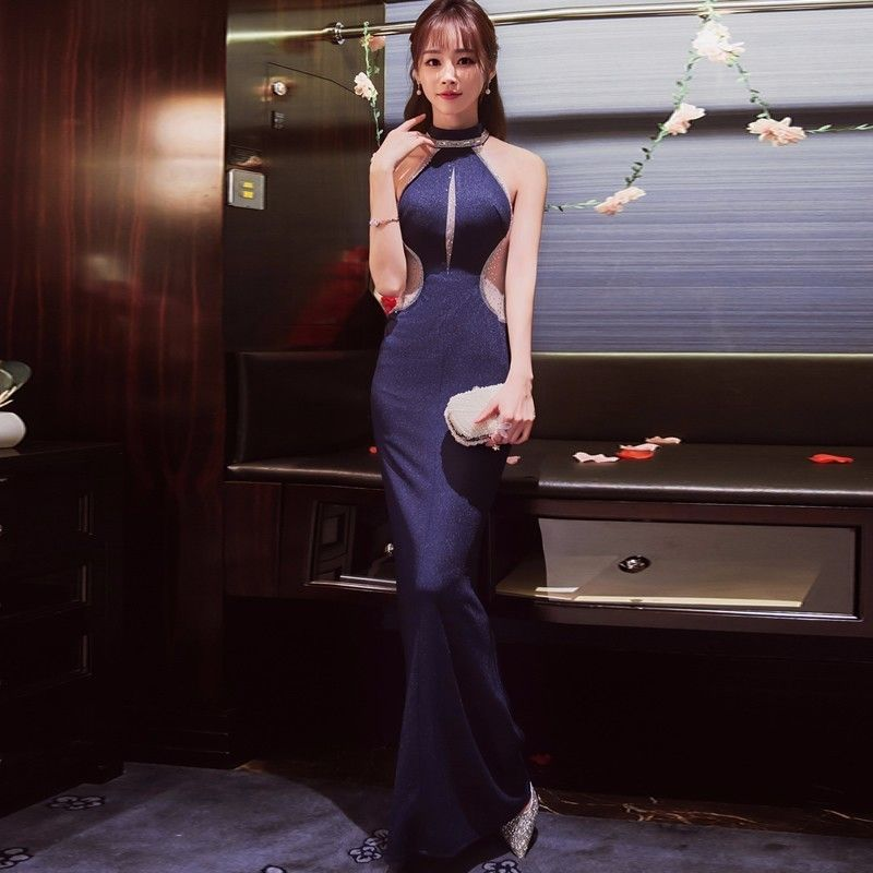 Blue Long Cheongsam Design Sexy Modern Qipao Traditional Evening Gown  Korean Classic Women Dress Formal Party Dresses Oriental f20394f92d14