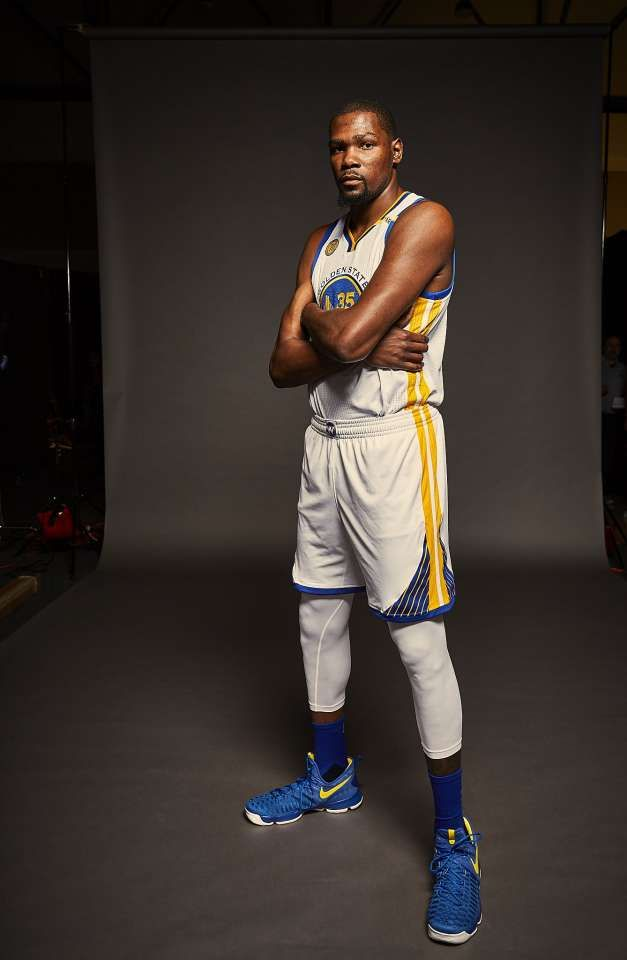 9fbe72ba5 Golden State Warriors Forward Kevin Durant is seen during media day on  Monday, Sept. 26, 2016 in Oakland, Calif.