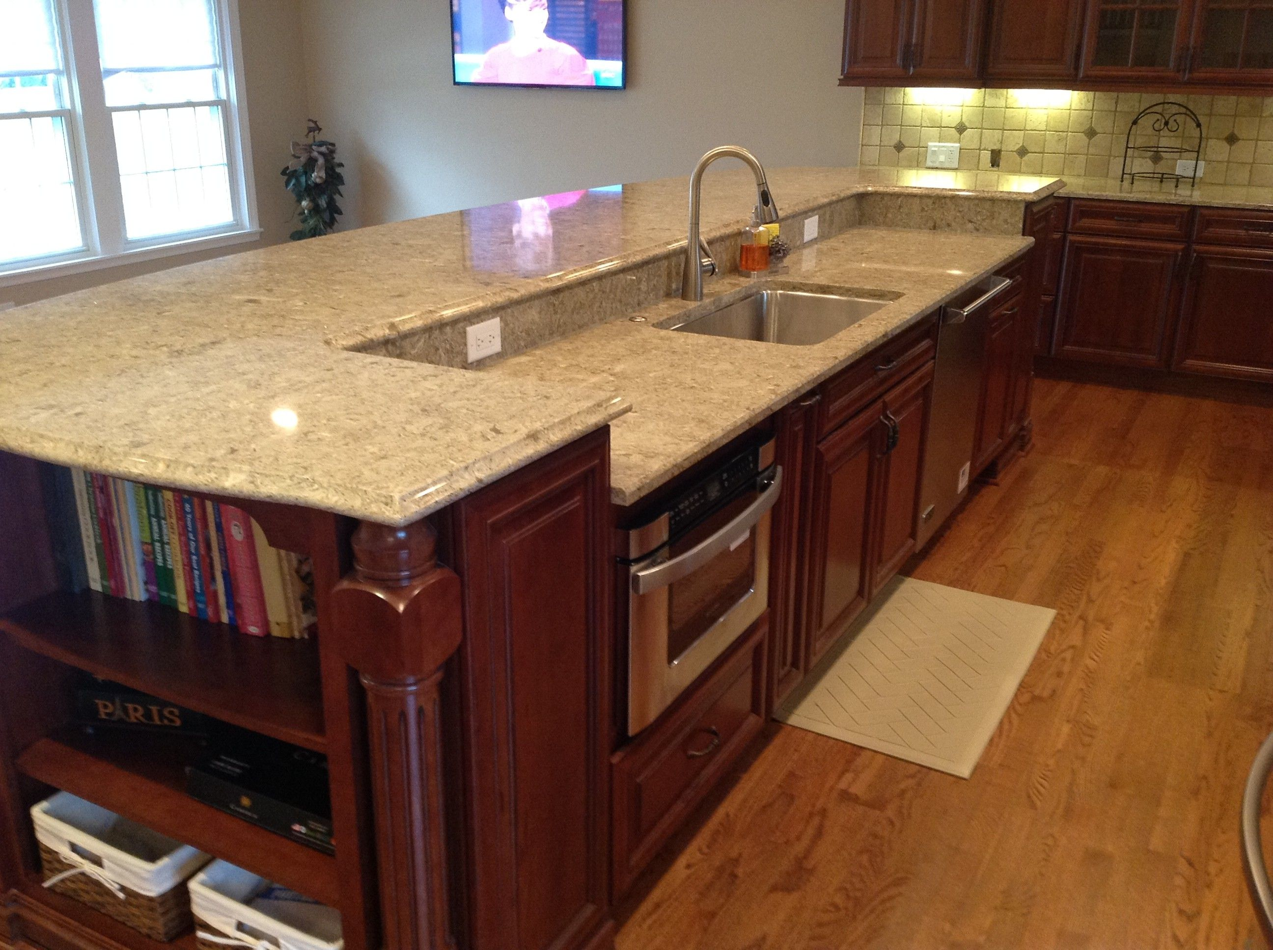 A 12 39 island contains the sink dishwasher and microwave - Large kitchen islands with seating and storage ...