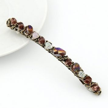Pieces of Jewel Purple Crystal Hair Clip