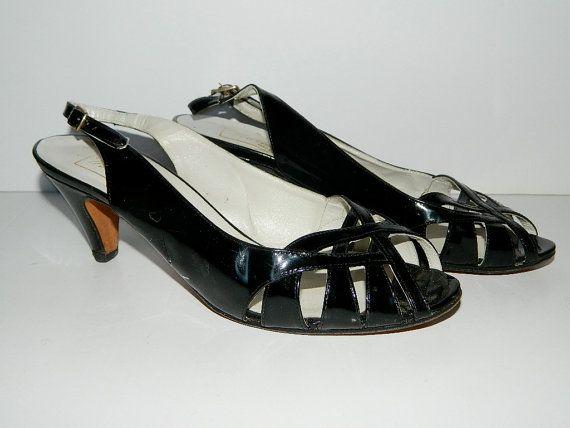 Vintage 1970s Black Patent Leather Open Toe by NettyVintage