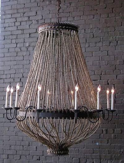 "Luigi Chandelier rusted black iron and rope; 3 ft. chain; made to order, please allow 8 weeks - 8 or 12 Light; 8 LIGHT - 38"" high x 36"" diameter  $1825.00 