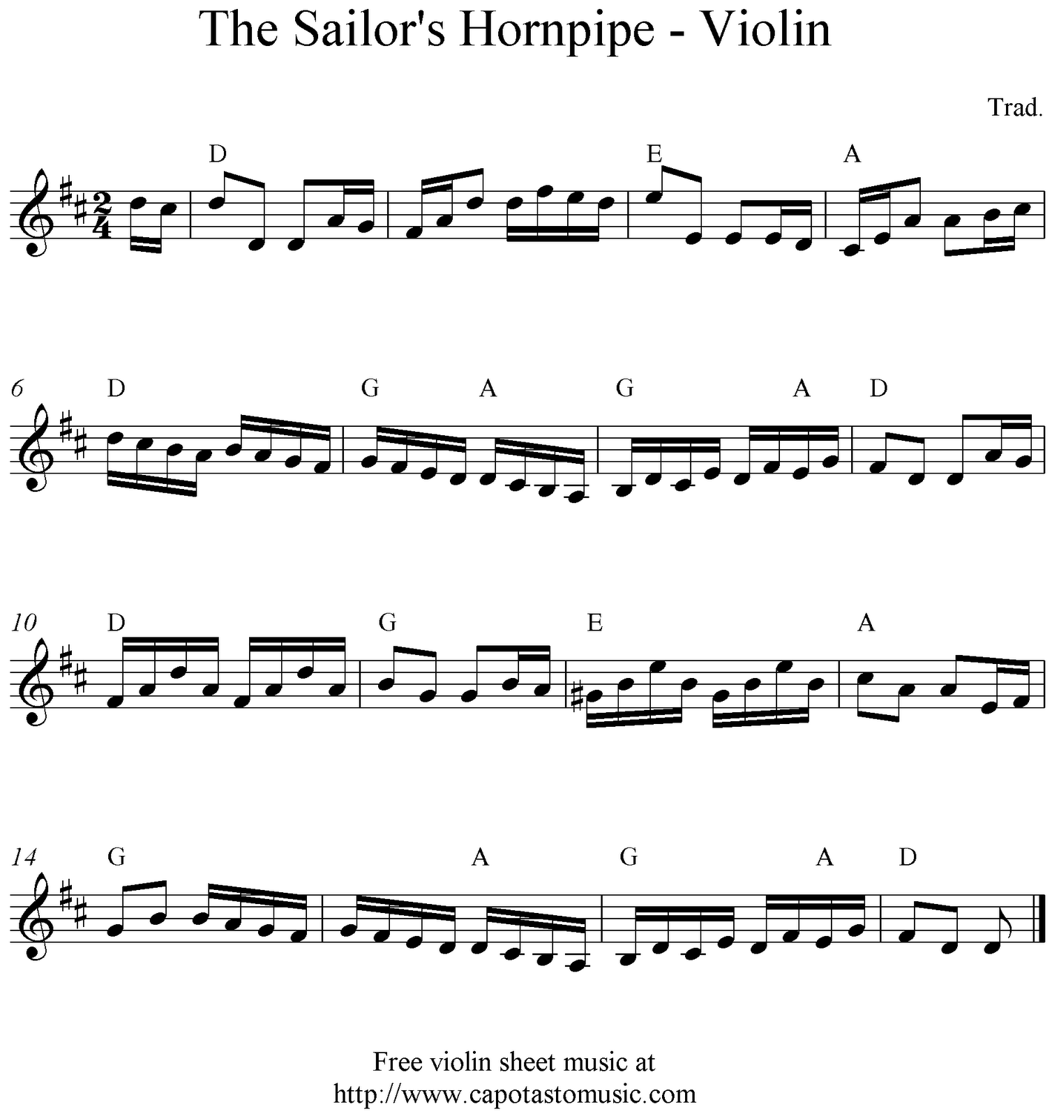 Free Sheet Music Scores: The Sailor's Hornpipe, Free