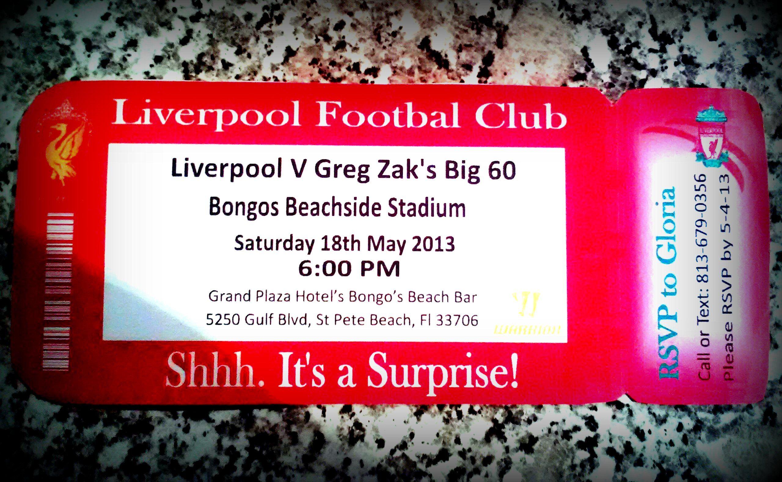 Liverpool Footbal fan\'s big Surprise birthday Invitation. Custom ...