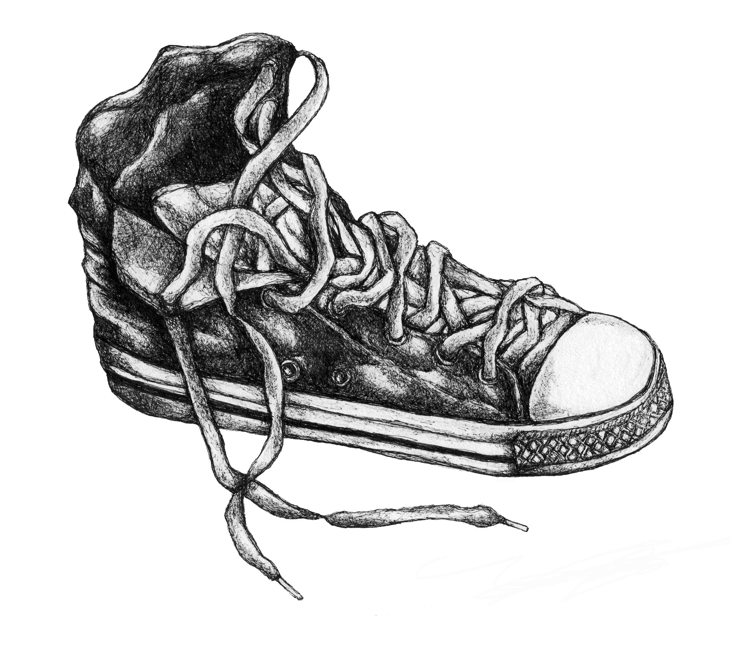 Single converse shoe study | Shoes: GCSE Drawing Task ...