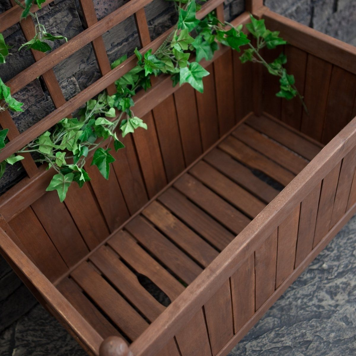Wood Planter Box on Wheels with Gridstyle Trellis Wood