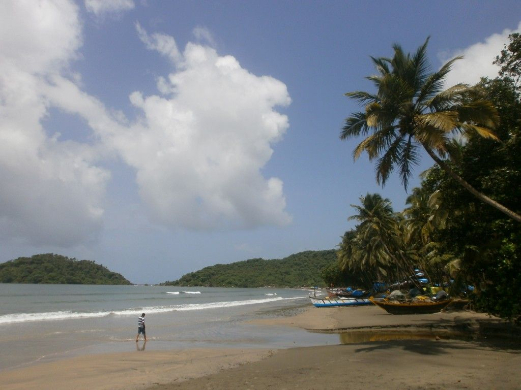 Beautiful beach called Palolem in south Goa, India. This picture was taken in monsoon season but it was still nice!