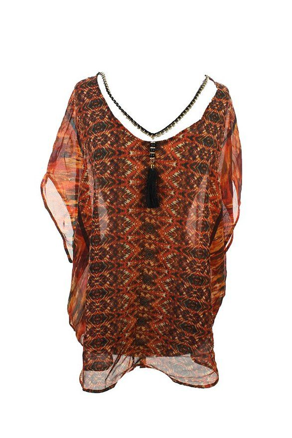 Ny Collection Plus Size New Orange Printed Tassel Top 2X $49 DBFL