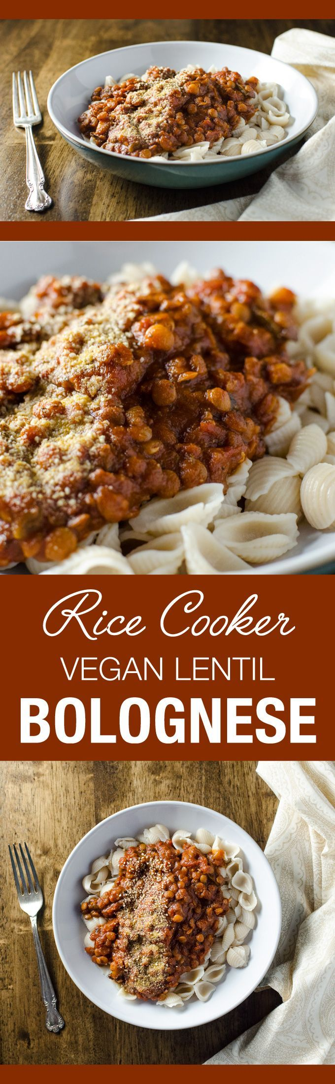 Rice Cooker Vegan Lentil Bolognese Sauce - made with simple ingredients and easy to prepare, this plant-based recipe offers a pleasing meaty texture without the meat! #vegan #ricecookermeals