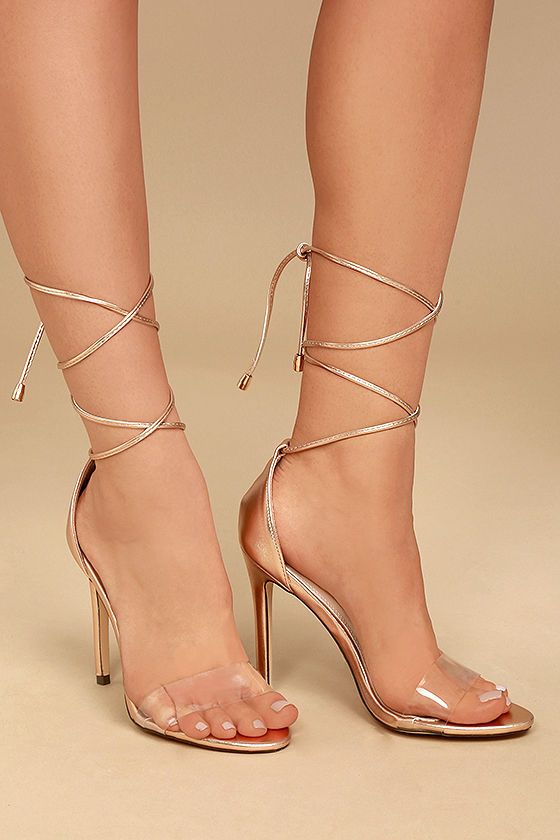 e6bc91674e Combine all of your favorite trends in one sexy shoe ... the Ledah Rose  Gold Lace-Up Heels! Metallic vegan leather starts at a peep-toe upper (with  a clear
