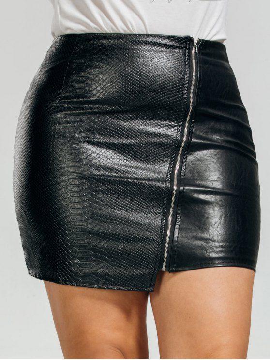 041b11bf7 AD : PU Leather Asymmetrical Plus Size Skirt - BLACK Style: Fashion Length:  Short