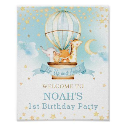 Hot Air Balloon Birthday Jungle Animals Welcome Poster | Zazzle.com