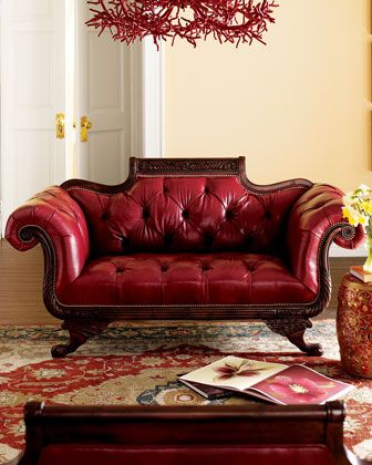 Old Hickory Tannery Red Tufted-Leather Sofa & Loveseat | nbc ...