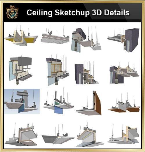 【Best 70 Types Ceiling Sketchup 3D Detail Models