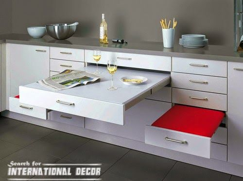 Retractable Tables pull out drawers,pull out shelves, retractable table in the