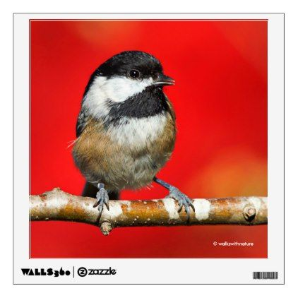 Cute black capped chickadee with red autumn leaves wall sticker fall decor diy customize