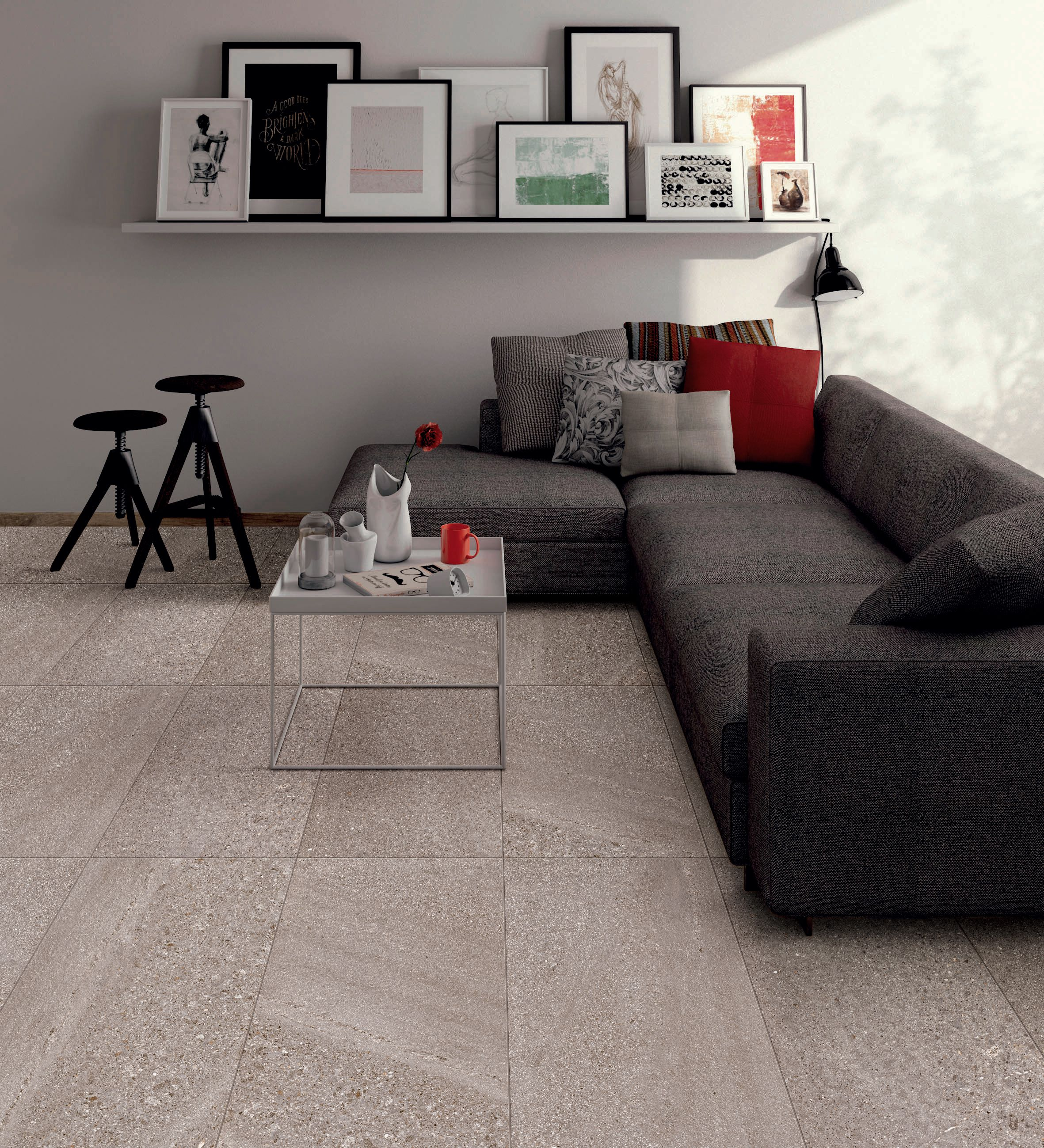 gray porcelain tile living room Living room floor with Balance Gray | The Balance | Imperial tile, Wood look tile, Wall tiles