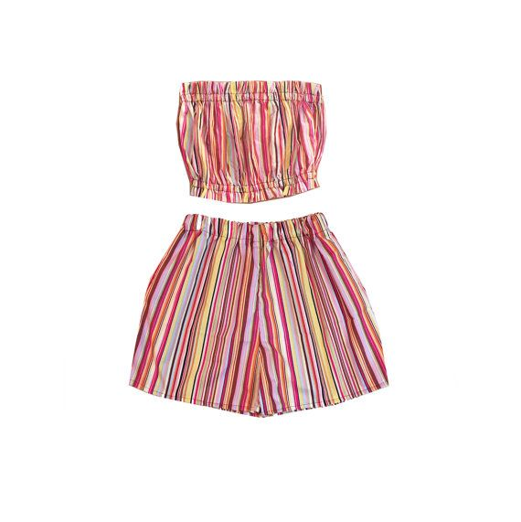 Multicolored striped tube top and high-waisted shorts set