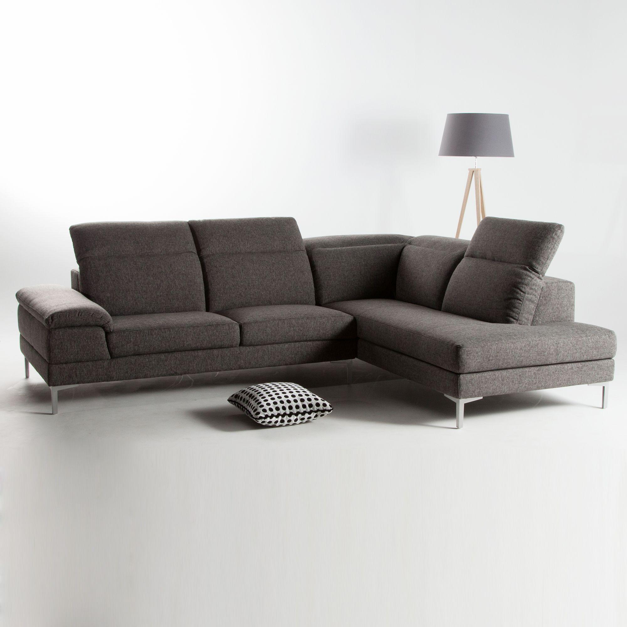 canap d 39 angle tissu 4 places avec t ti res r glables pieds m tal agatha d co pinterest. Black Bedroom Furniture Sets. Home Design Ideas