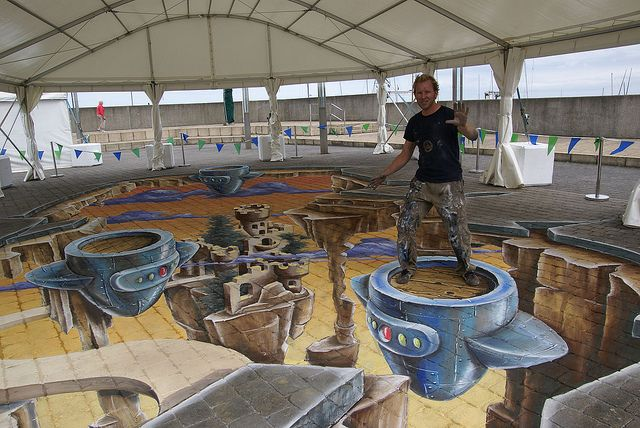 Sidewalk Chalk Art 3D Creations   3d chalk art dun laoghaire this first chalk festival in ireland was ...