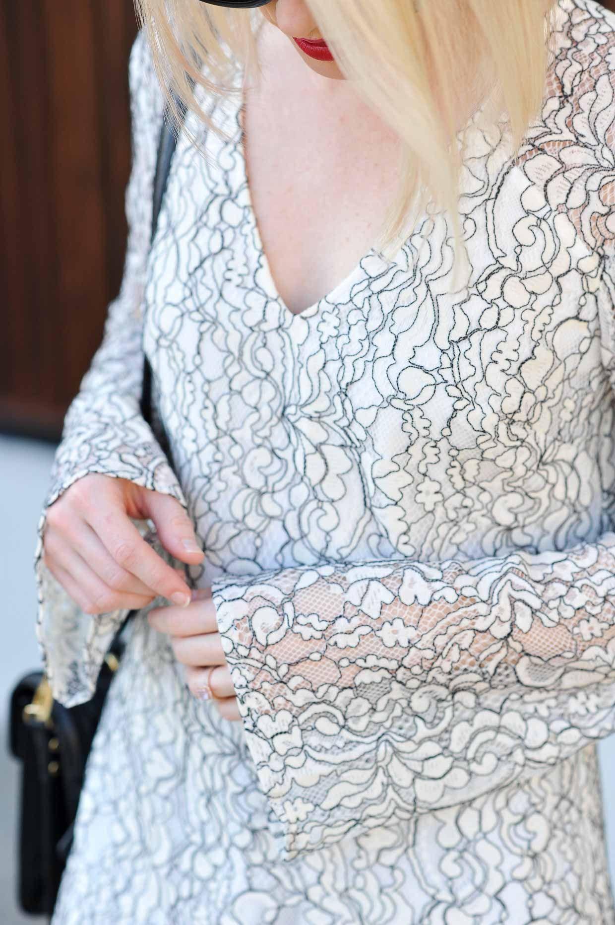 Wayf Lace Bell Sleeve Shift Dress Under 100 Womens