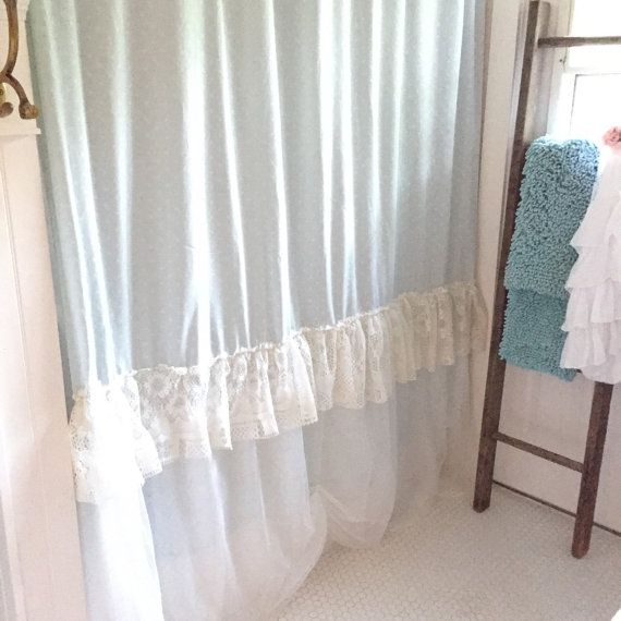 Lace Shower Curtain Shabby Chic Ruffle Bohemian Bathroom
