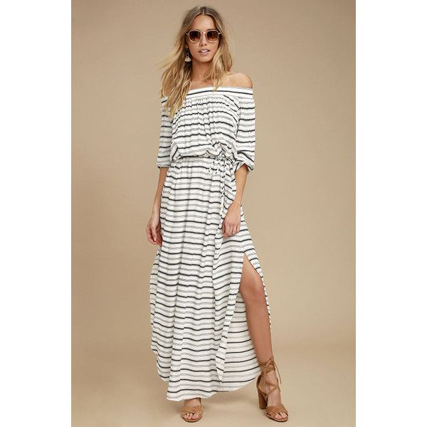 Faithfull the Brand Rae Black and White Striped Maxi Dress ($47) ❤ liked on Polyvore featuring dresses, white, off shoulder maxi dress, white long sleeve dress, black and white striped dress, striped maxi dress and white and black dress