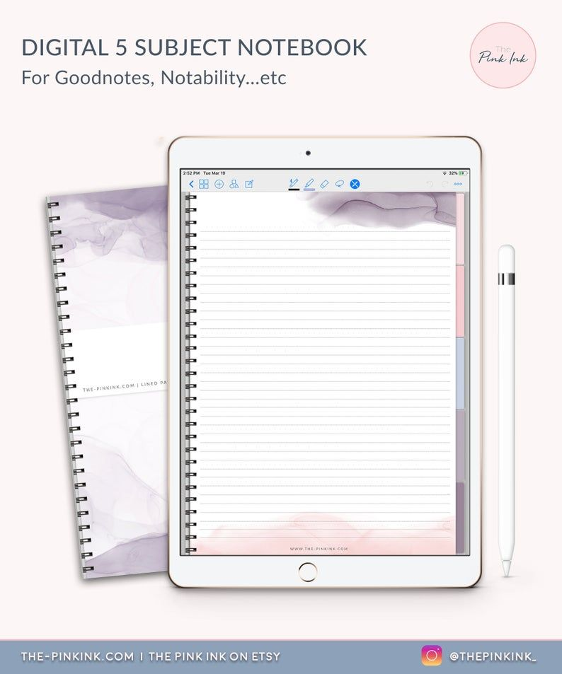 Digital Notebook 5 subject notebook Goodnotes template | Etsy