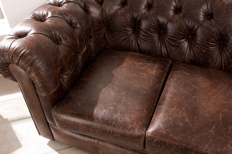 Chesterfield Sofa Im Vintage Stil Hochwertiges Italienisches Leder