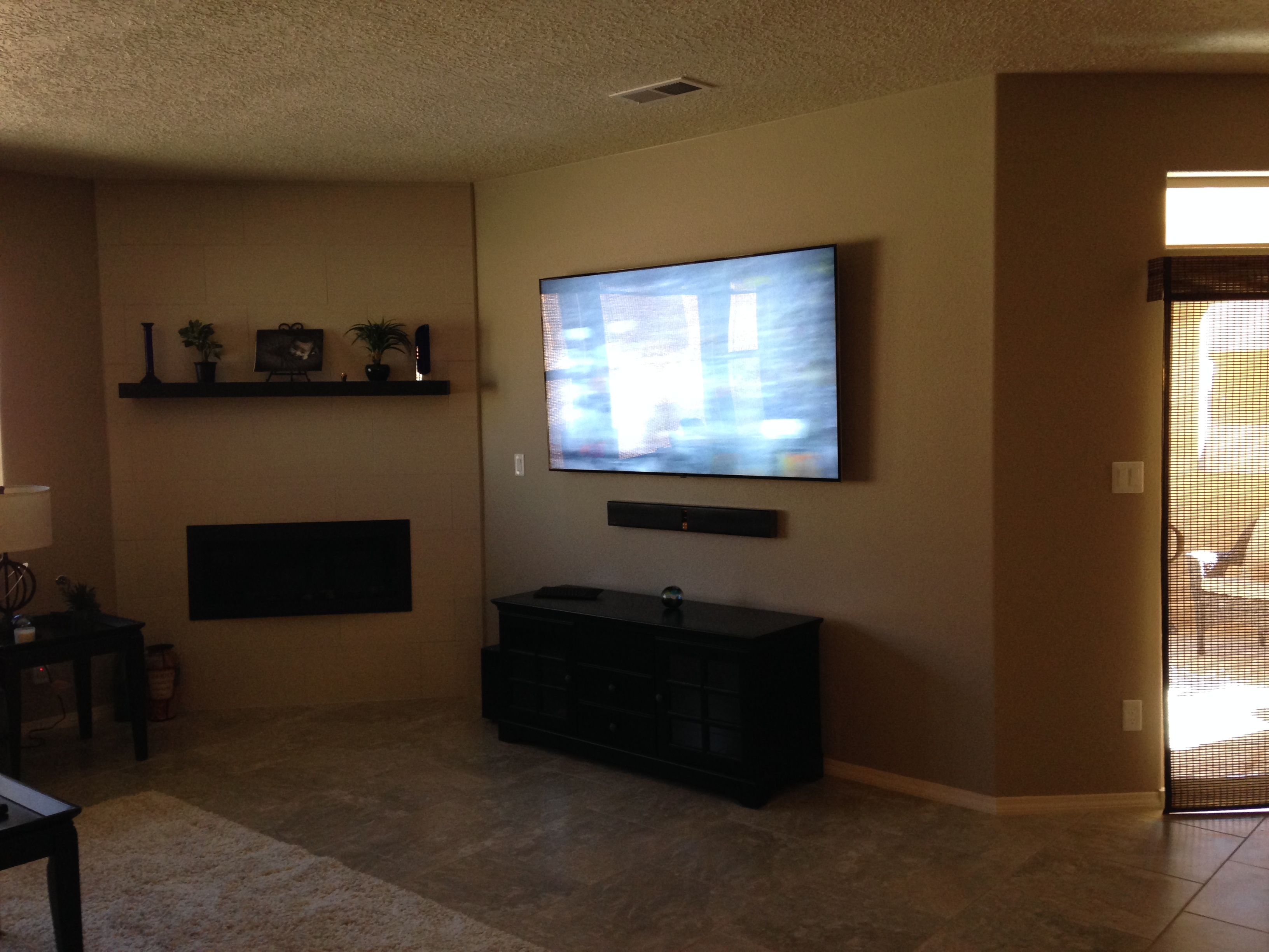 70 Tv Mounted With Sound Bar And Ambient Lighting Great Look For The Living Room Home Ambient Lighting Mounted Tv