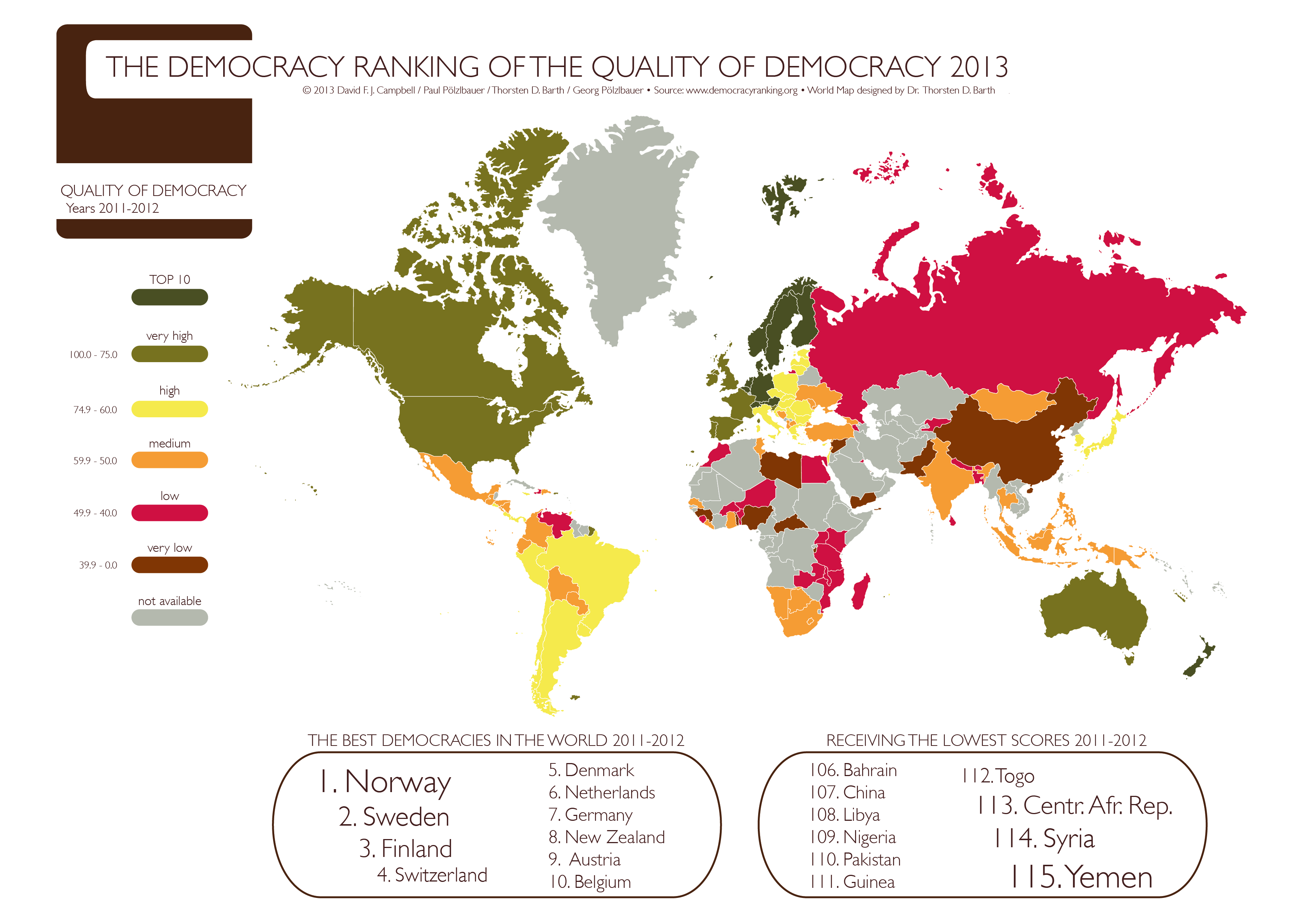 Democratic World Map.This Map Shows The Results Of The Democracy Ranking 2013 The