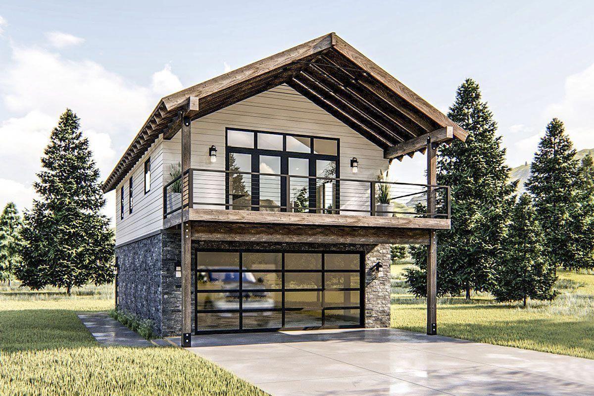 Modern Rustic Garage Apartment Plan With Vaulted Interior 62778dj Architectural Designs House Plans Woodworkingp Haus Plane Architektur Kleine Hausplane