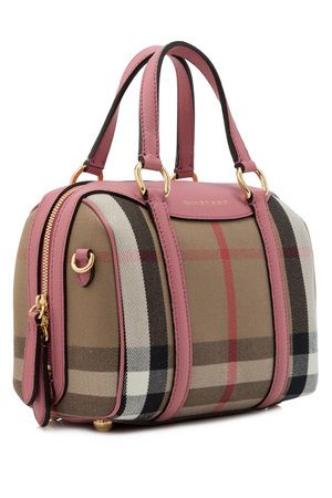 845cab6a12b2 Burberry House Check Derby Leather Small Alchester Bowling Bag ...