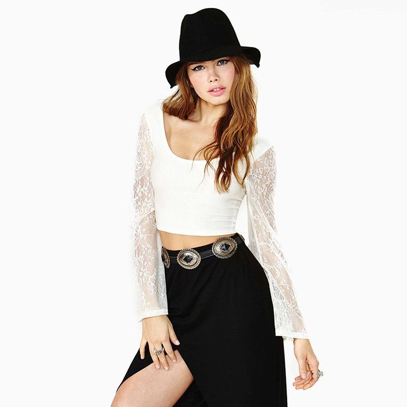HDY Haoduoyi Fashion Solid Color Women T-shirts Long Sleeve Lace Patchwork Crew Neck Crop Tops Women Sheer Casual Slim Tees
