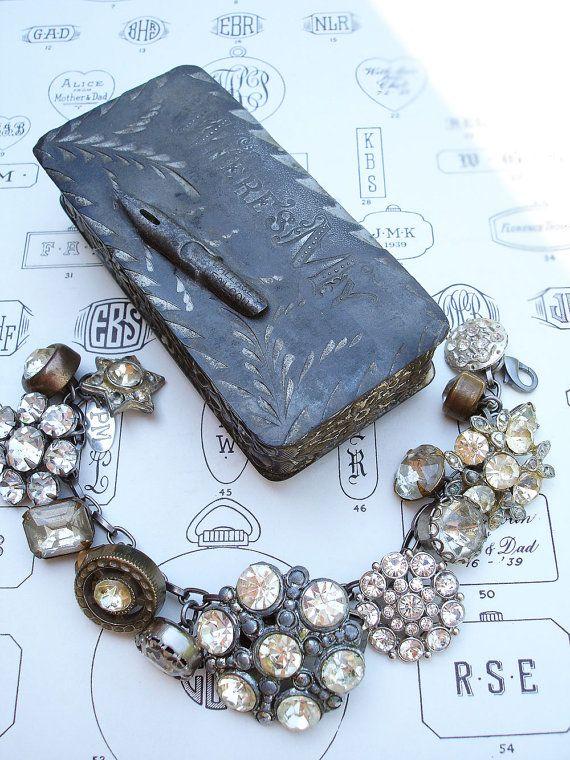 Vintage Rhinestone Button Bracelet Number 23 by PaulaMontgomery, $90.00