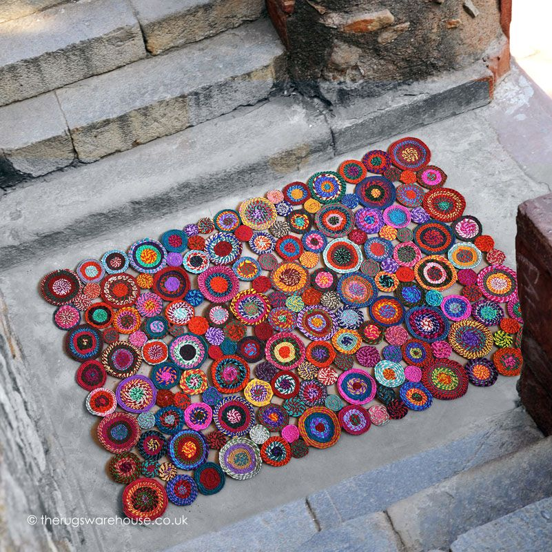 This colourful handmade Bilbao Rug is made from #recycledfabric http://www.