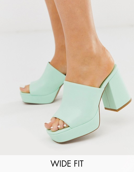 chunky platform mules in mint