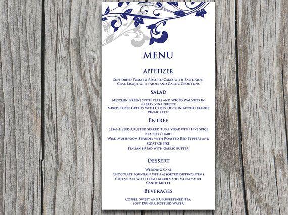 Whimsical Vines Wedding Menu Card Microsoft Word Template Navy Blue Silver Able Custom Colors By Paintthedaydesigns 7 75