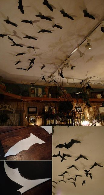 Black Bats Hanging From The Kitchen Ceiling Halloween Cubicle Halloween Decorations Diy Halloween Decorations