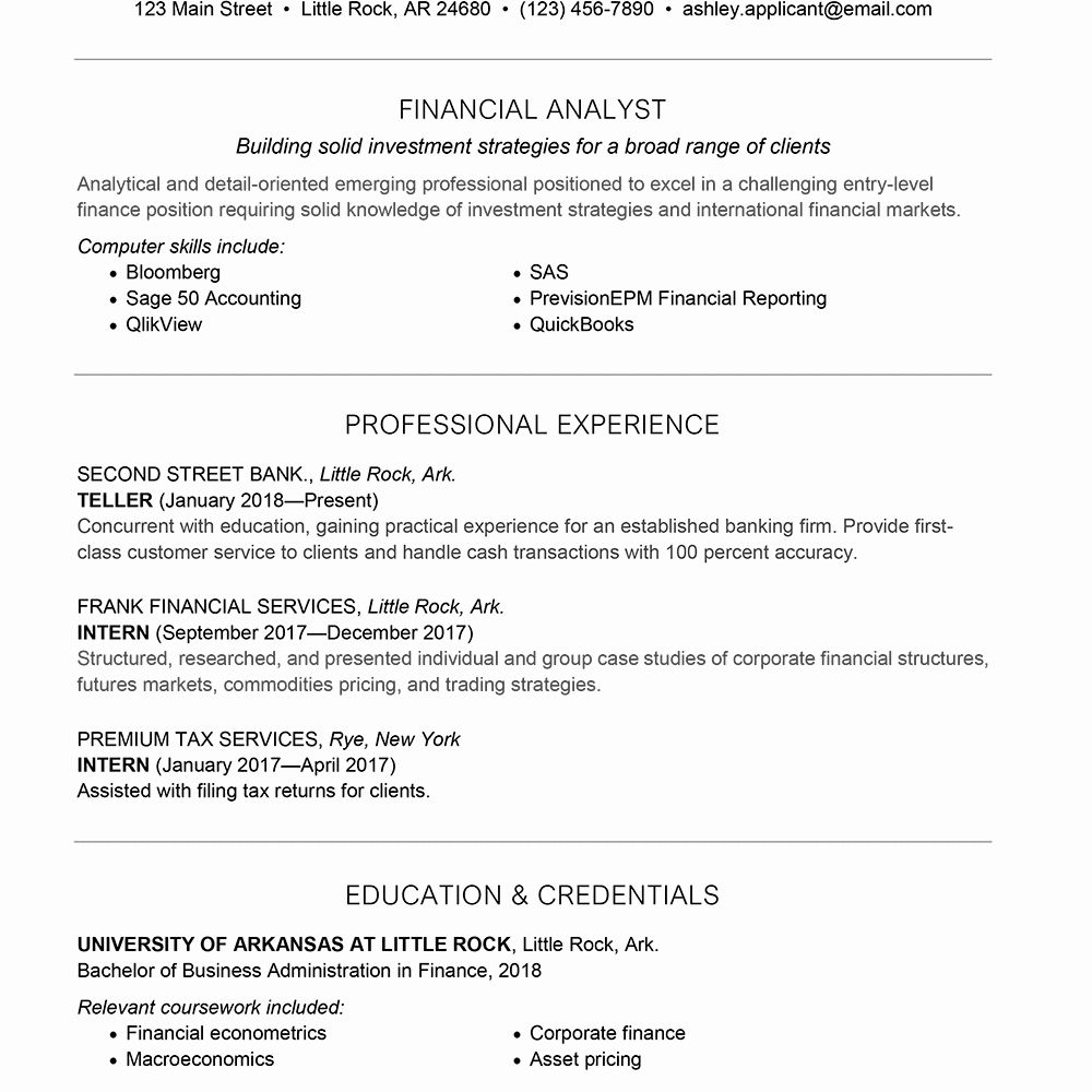 Entry Level Financial Analyst Resume Luxury Entry Level