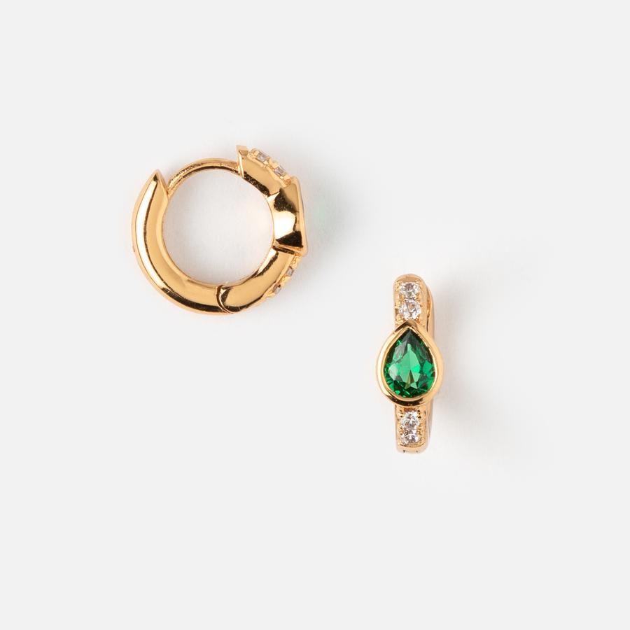 135af4d1d Emerald Teardrop Pave Huggie Hoop Earrings - Orelia London | Style ...