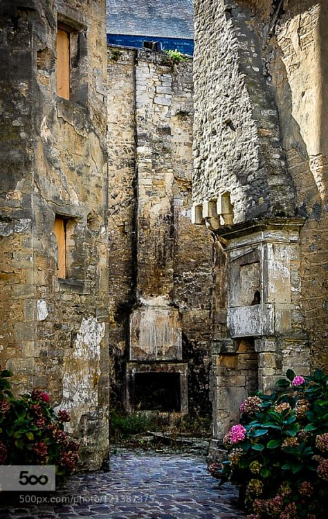 Bayeux France by terryvpickens  Bayeux alley architecture building courtyard europe fireplace midevil old street travel urban France