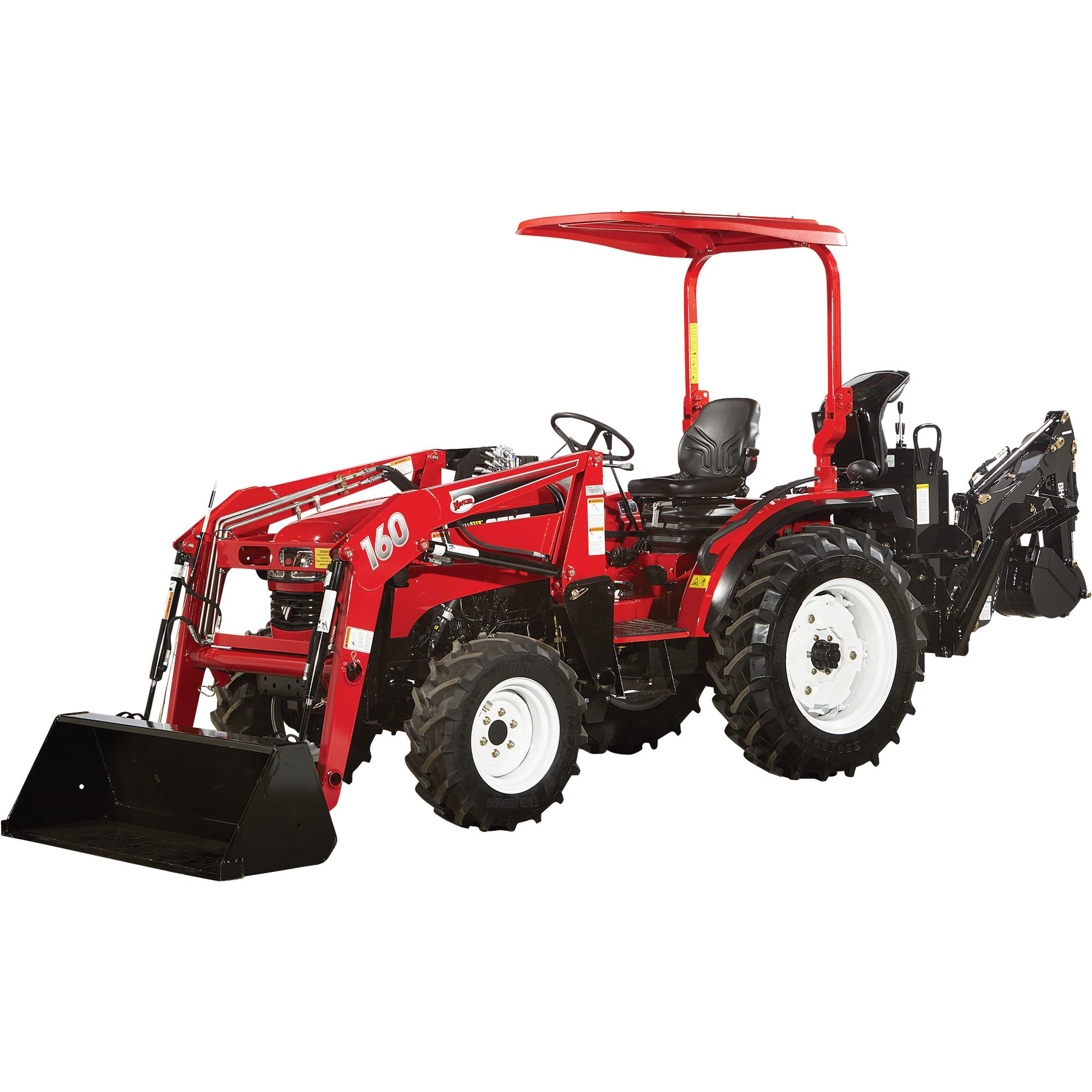 Nortrac 35xt 35 hp 4wd tractor with front end loader backhoe with hybrid tires