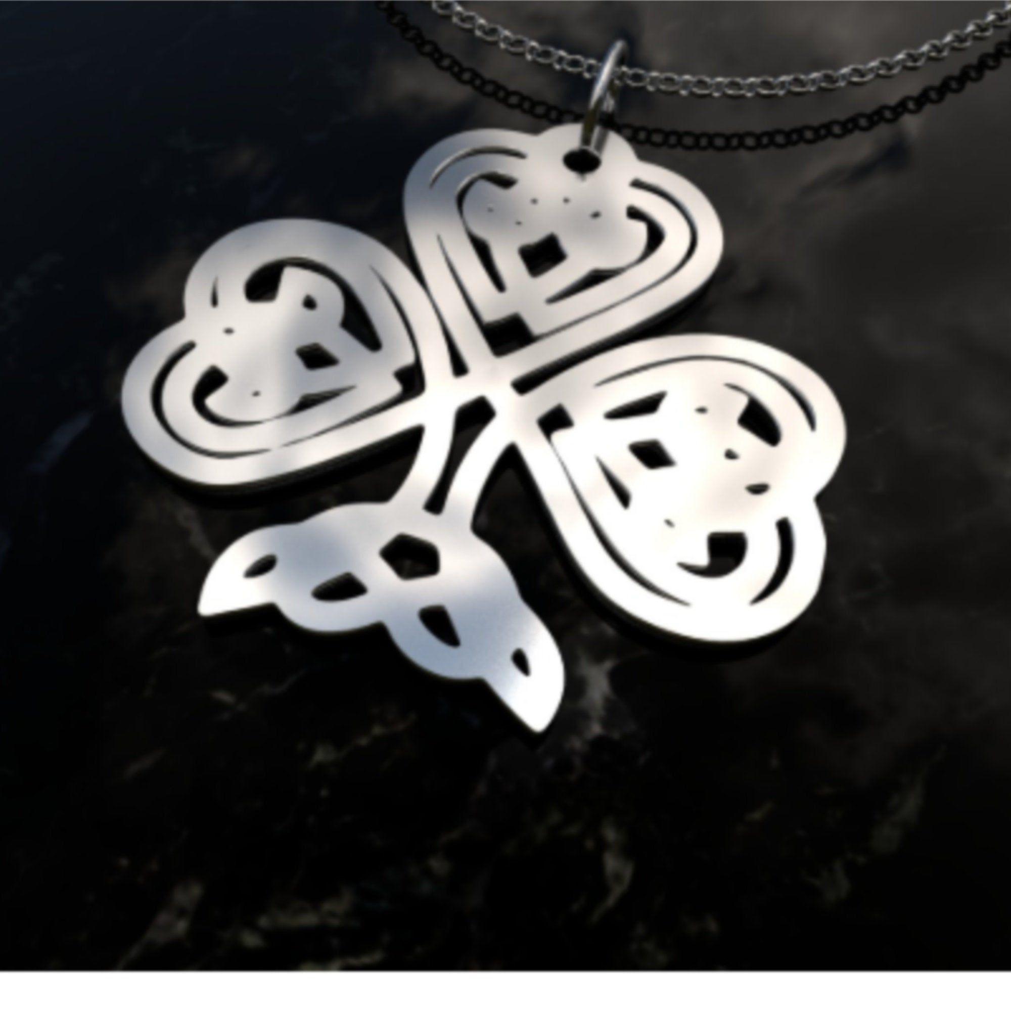 Shamrock Necklace Sterling Silver Necklace Men S Etsy Shamrock Jewelry Mens Silver Necklace Sterling Silver Necklaces