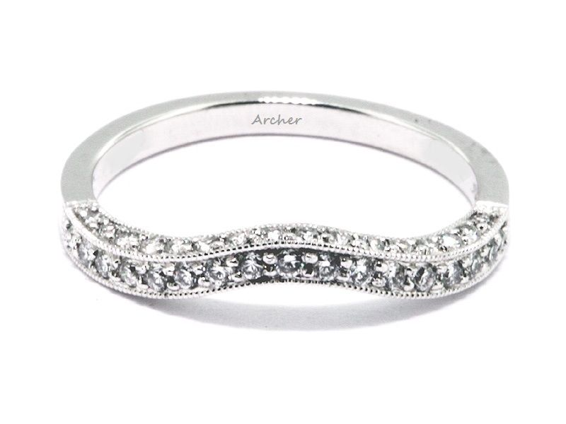 Curved Diamond Wedding Band With A Side View Of Diamonds 0 40 Total Carat Weight 756 00