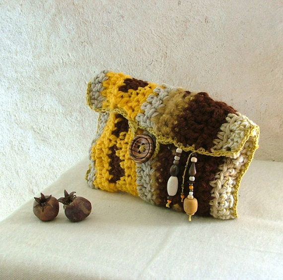 Desert dreams - crochet clutch  with wooden button and beads - tapestry crochet