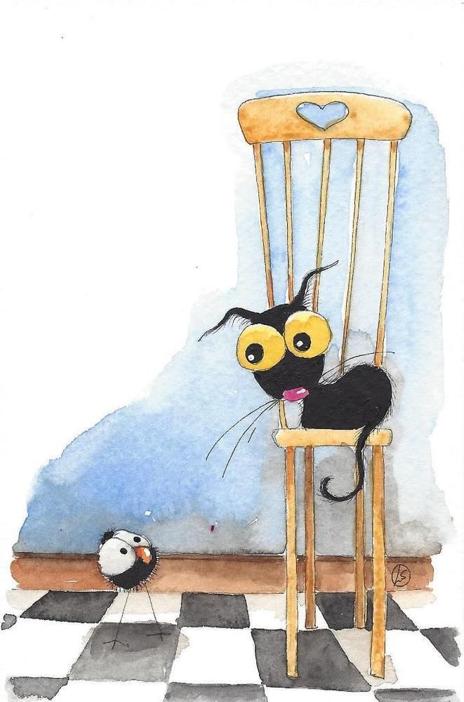 Original watercolor painting whimsical Stressie Cat bird crow high chair #IllustrationArt