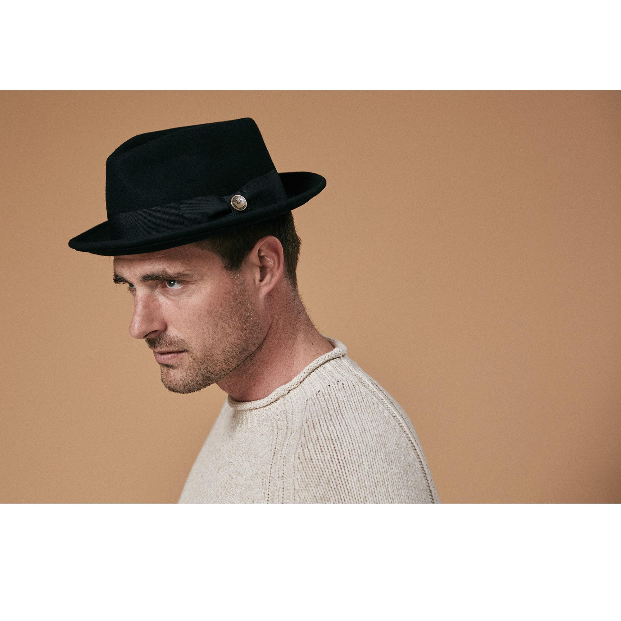 Classic Black Lightweight Cotton Trilby Hat 3 sizes