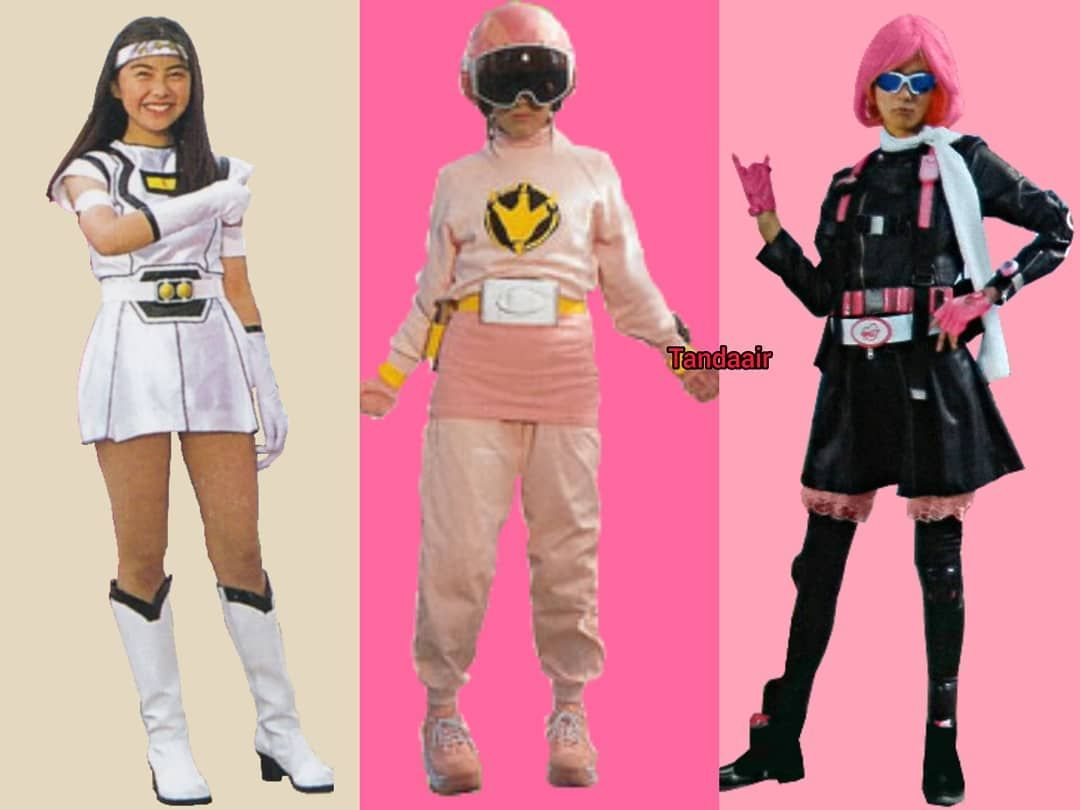 Sentai Dan Ranger On Instagram From Left To Right White Racer From Carranger Abare Pink From Abaranger Pink Buster From Go In 2020 Go Busters Ranger Busters